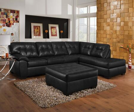 Shi 50615SO 2 PC Living Room Set with Sectional Sofa + Ottoman in Soho Onyx
