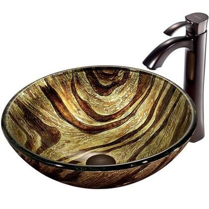 VGT193 Zebra Glass Vessel Sink and Faucet Set in Oil Rubbed