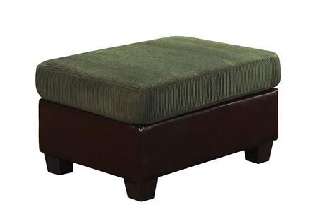 Connell Collection 55957 35 inch  Ottoman with Pine Wood Frame  Pocket Coil Seating  Plastic Legs  Tight Seat  Corduroy and Bycast PU Leather Upholstery in Olive
