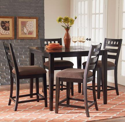 13176 Sparkle Counter Height Dining Room Set - 1 Table and 4 Stools in Brown Cherry