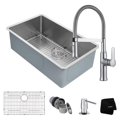 KHU100-32-1640-42CH Kitchen Combo with Handmade Undermount Stainless Steel 32 in. Single Bowl 16 Gauge Kitchen Sink and Nola Single Handle Flex Commercial