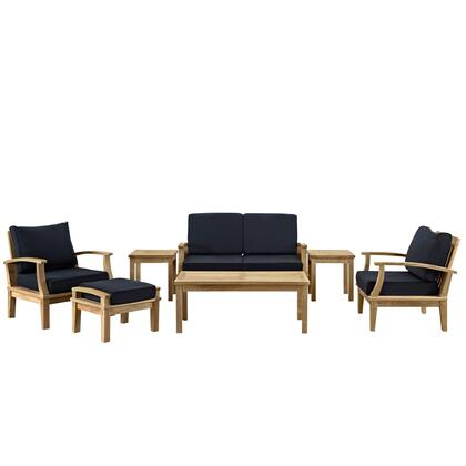 EEI-1486-NAT-NAV-SET Marina 7 Piece Outdoor Patio Teak Set with Loveseat + 2 Chairs + Ottoman + 2 Side Tables + Coffee Table  Natural Teak Finish  Water and UV