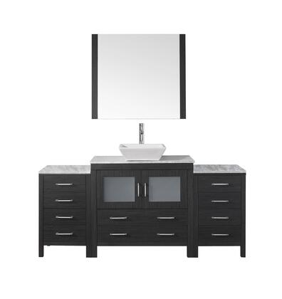 Ks-70068-wm-zg-001 Dior 68 Single Bathroom Vanity In Zebra Grey With Marble Top And Square Sink With Brushed Nickel Faucet And