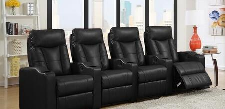 Camden Collection 4 Seat Recliner Theater Set with Sinuous Seat Spring  Grade Deluxe Foam Cushions  Wood Frame and Bonded Leather Upholstery in Black