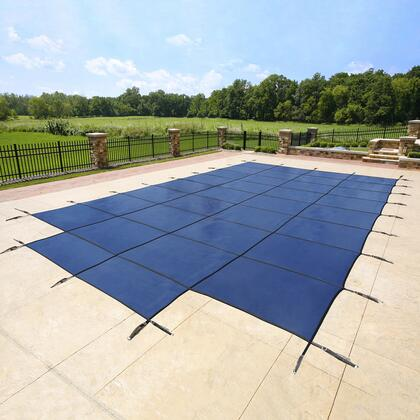 WS322BU Blue 18-Year Mesh Safety Cover For 15-Ft X 30-Ft Rect Pool W/ Right