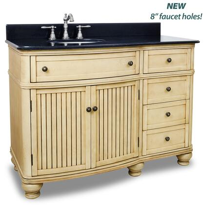 VAN02848T 48 inch  Wide MDF Single Vanity with Black Granite Top  5 Drawers and Large Cabinet in