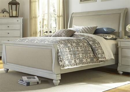 Harbor View III Collection 731-BR-KSL King Sleigh Bed with Bun Feet  Distressed Finish and Bolt-On Rail System in Dove Gray
