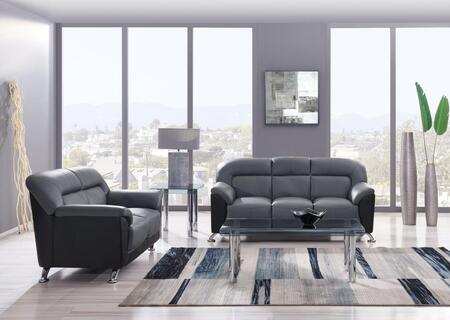 U9102DGRBLSOFAL  2 Piece Set including Sofa and Loveseat  in Dark Grey and Black