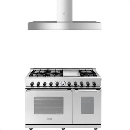 2-Piece Stainless Steel Kitchen Package with RN482SCSS 48 inch  Freestanding Dual Fuel Range and HN481BSS 48 inch  Wall Mount Hood