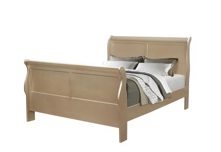 Hershel Louis Philippe Collection 204421Q Queen Size Sleigh Bed with Simplistic Design and Hardwood Construction in Metallic