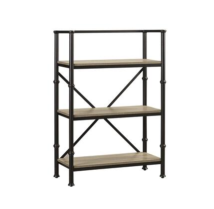 Durham LB-DUR-BS44 44 inch  Tall 3-Shelf Bookcase with Steel Frame  Open Design and Embossed Parchment Veneers for Easy Cleaning in Salvage Oak