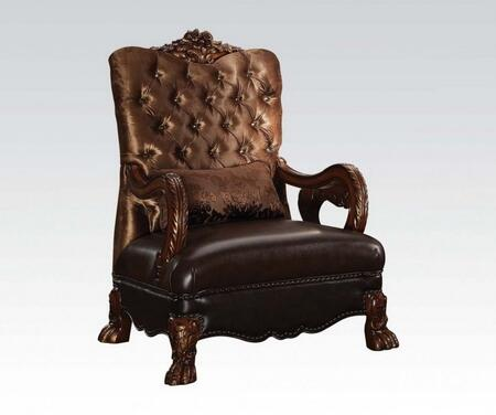 Dresden Collection 52097 34 inch  Accent Chair with Toss Pillow  Nail Head Trim  Claw Legs  Scrolled Crown Trim  Crystal-Like Tufted Back and Velvet Fabric