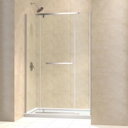 DL-6448C-01CL Vitreo-X Frameless Pivot Shower Door and SlimLine 34 by 60 Single Threshold Shower Base Center