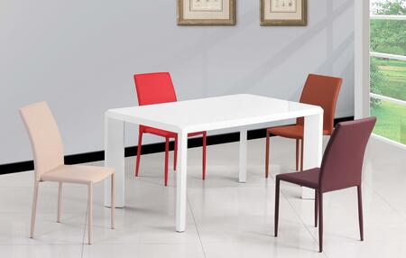 Fiona-5pc-red Fiona Dining 5 Piece Set Gloss White Parson Dining Table With 4 Red Fully Upholstered Stackable Side