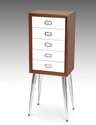 Gannon Collection 97211 13 inch  Jewelry Armoire with 5 Drawers  Metal Tapered Legs  Adjustable Legs Levelers  Metal Hardware and Wood Construction in White and