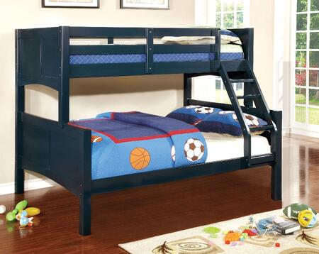 Prismo II Collection CM-BK608F-BL-BED Twin Over Full Size Bunk Bed with Attached Ladder  Guard Rails  Solid Wood and Wood Veneers Construction in Blue
