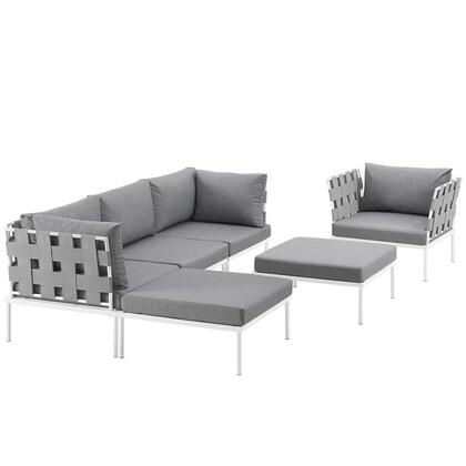 Harmony Collection EEI-2626-WHI-GRY-SET 6-Piece Outdoor Patio Aluminum Sectional Sofa with Armchair  Armless Chair  2 Corner Sofas and 2 Ottomans in