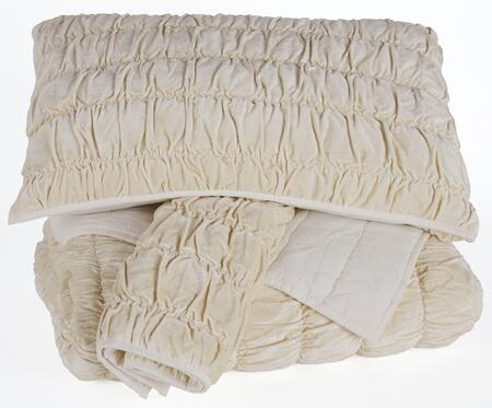 Stitched Q472003Q 3-Piece Queen Size Quilt Set includes 1 Quilt and 2 Shams with Hand Quilted Ruched Design  Cotton and Viscose Material in Beige