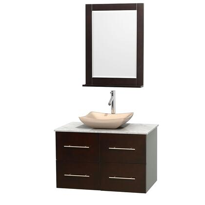 WCVW00936SESCMGS2M24 36 in. Single Bathroom Vanity in Espresso  White Carrera Marble Countertop  Avalon Ivory Marble Sink  and 24 in.