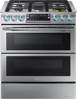 "NX58K9850SS 30"" Slide-In Gas Range with 5.8 cu. ft. Oven Capacity  Flex Duo convection fans  Dual oven doors  Self-cleaning  Child lock and Wi-Fi Connection in"