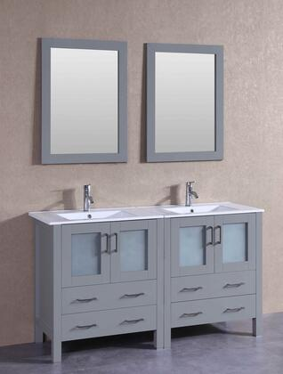 AGR230U 60 inch  Double Vanity with White Ceramic Top  Integrated Sink  F-S01 Faucet  Mirror  4 Doors and 4 Drawers in