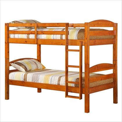 BWSTOTHY Solid Wood Twin over Twin Bunk Bed with Full Length Guardrails and Integrated Ladder in