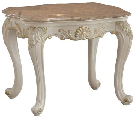 83542 Chantelle Rectangular End Table with Marble Top  French Rococo Styling  Cabriole Legs and Carved Decorative Accents in Pearl