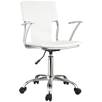 Studio Collection EEI-198-WHI Office Chair with Adjustable Height  Casters  Modern Style  Tension Control Knob  Aerodynamic Arms  Chrome Plated Steel Base and