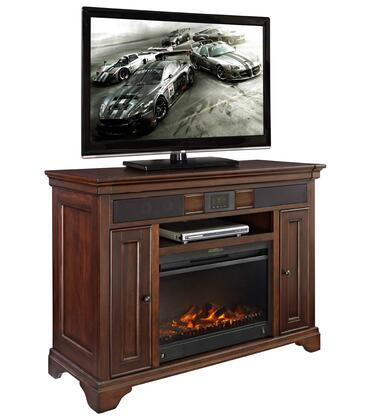 Belcourt ER-BLC-K-48AUDIOFP-D 48 inch  TV Stand with Built-In Audio System  Fireplace Insert  2 Doors with Storage and Open Shelf in Cherry