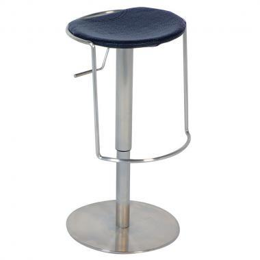 0535-AS-BLK Pneumatic Gas Lift Adjustable Height Swivel Stool Finish in Brushed Stainless