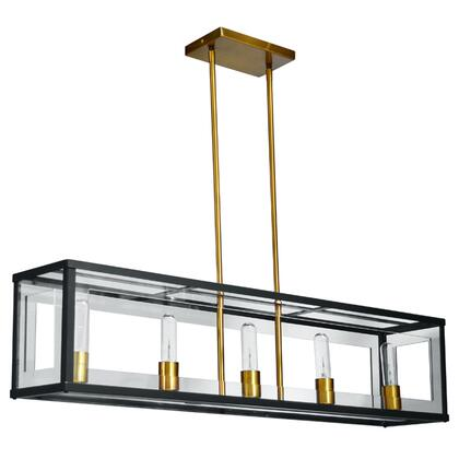 HG-385HP-MB-VB 5 Light Acrylic Horiontal Pendant  Matte Black / Vintage Bronze Finish  Clear Acrylic