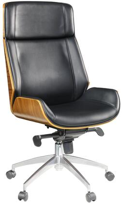 Conroy Collection 92295 Executive Office Chair with Swivel Seat  Adjustable Height  Aluminum Base  Bonded Leather Upholstery  Bentwood and Poplar Wood Frame in