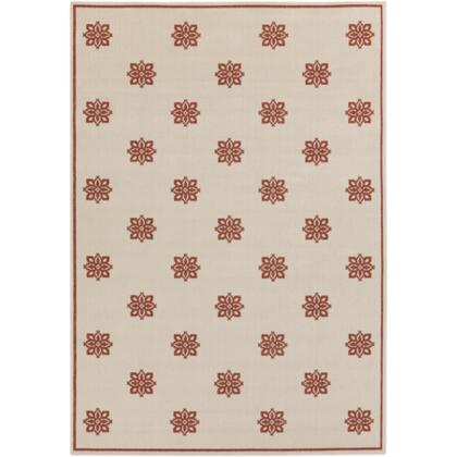Alfresco Alf9605-5376 53 X 76 Rectangular 100% Polypropylene Rug With No Shedding  Easy Care  Low Pile  Loop Texture  And Machine Made In Egypt In Beige