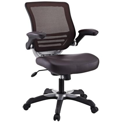 Edge Collection EEI-595-BRN Office Chair with Adjustable Seat Height  Flip-Up Arms  Casters  Tilt Tension Control  Mesh Backrest  Sponge Seat and Vinyl Seat