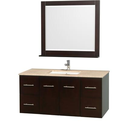 WCVW00948SESIVUNDM36 48 in. Single Bathroom Vanity in Espresso with White Ivory Top with Square Porcelain Undermount sink and 24 in.