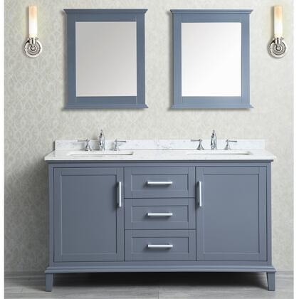 SCNAN60SWG Nantucket 60 inch  Double-Sink Bathroom Vanity Set with Marble Top  Tapered Legs  and Molding Detail in Whale