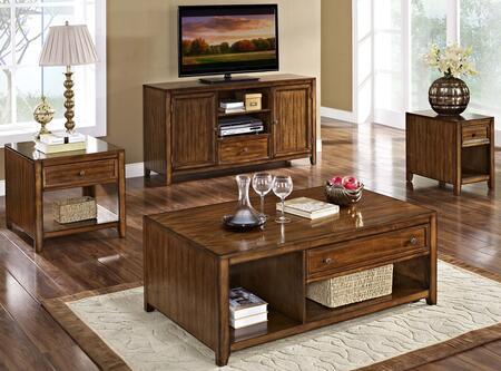 3071110CEET Contempo 4 Piece Occasional and Entertainment Table Set with Cocktail Table  End Table  Chairside End Table and TV Console  in Burnished