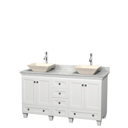 Wcv800060dwhcmd2bmxx 60 In. Double Bathroom Vanity In White  White Carrera Marble Countertop  Pyra Bone Sinks  And No