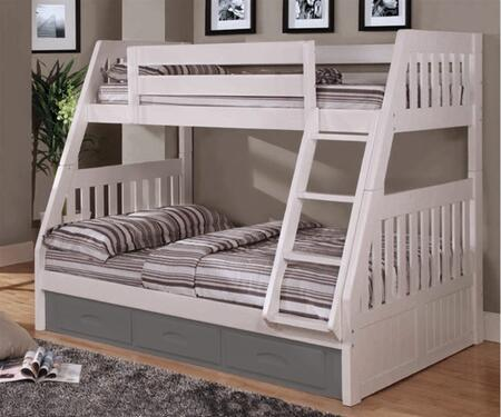 0218-W Twin Over Full Mission Bunk Bed with Slat-Kits and Mattress Ready in
