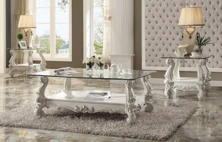Versailles Collection 82085EC 3 PC Living Room Table Set with Coffee Table + 2 End Tables in Bone White