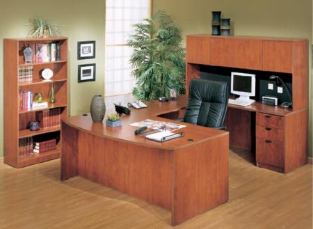KIT1N189C Bow Front Desk Shell with Bridge  Credenza  Hutch  Pedestal and Bookcase in Cherry