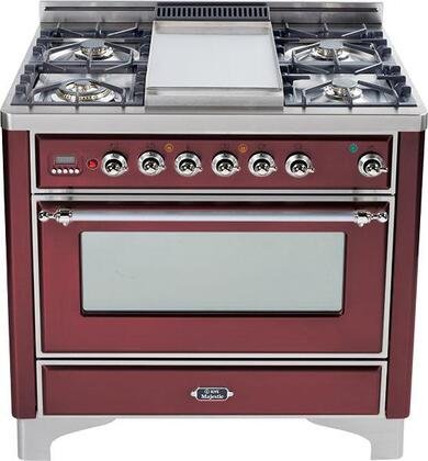 "UM90FVGGRBX Majestic Series 36"""" Freestanding Gas Range with 23 500 BTU  5 Burners  3.5 Cu. Ft. Capacity  Griddle  Rotisserie  Infrared Broiler  2 Racks"" 338928"