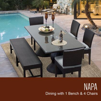 NAPA-RECTANGLE-KIT-4C1B-C-GREY Napa Rectangular Outdoor Patio Dining Table With 4 Chairs and 1 Bench with 2 Covers: Wheat and