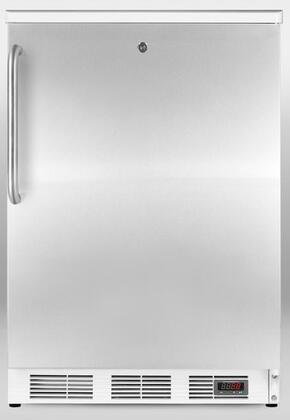 """FF7LPUBSSTB 24"""" Commercial Pub Cellar with 5.5 cu. ft. Capacity  3 Glass Shelves  White Cabinet  Lock  Automatic Defrost  and Digital Thermostat  in Stainless"""