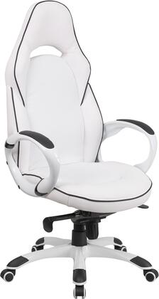 CH-CX0496H01-GG High Back White Vinyl Executive Swivel Office Chair with Black