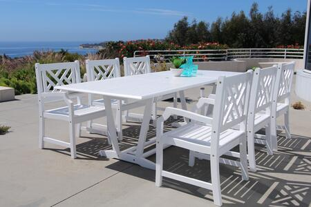 V1334SET13 Bradley Outdoor 7-Piece Wood Patio Dining Set With Extension Table In