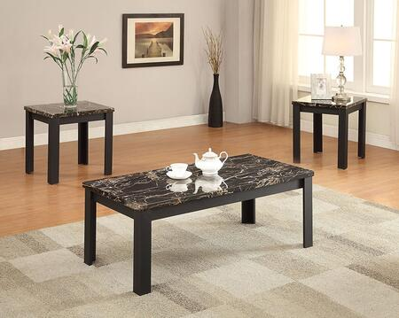 Carly Collection 82130 3 PC Living Room Table Set with 2 End Tables  Coffee Table  Faux Marble Top and Veneer Materials in Black