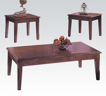 Chester Collection 06159 3 PC Living Room Table Set with Tapered Legs  Apron and Wood Veneer Wood Construction in Merlot