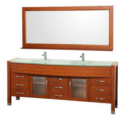 WCV220078CHGR 78 in. Double Bathroom Vanity in Cherry with Green Glass Top with Green Integral Sinks and 70.75 in.
