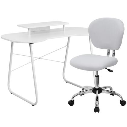 NAN-2-GG White Computer Desk with Monitor Stand and Mesh